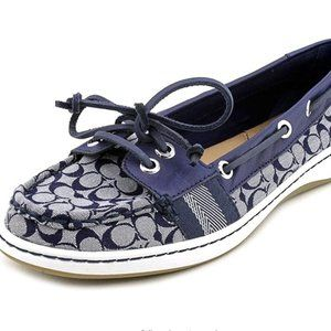 Coach Rainey Navy and White Canvas Boat Shoes